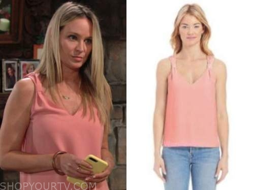sharon newman, sharon case, pink top, the young and the restless