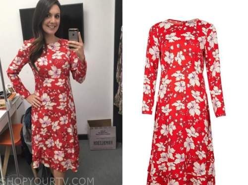 laura tobin, red and white floral dress, good morning britain