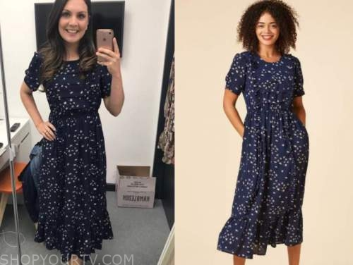 laura tobin, navy blue floral midi dress, good morning britain