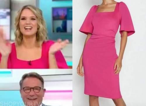 charlotte hawkins, good morning britain, hot pink sheath dress