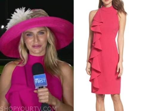 Ashley Strohmier, fox and friends, pink ruffle halter dress