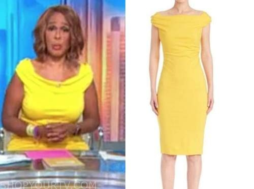 gayle king, yellow boatneck dress, cbs this morning