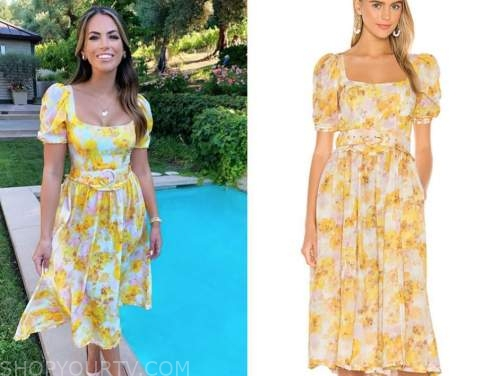 kacie mcdonnell, mansion global, fox nation, yellow printed midi dress
