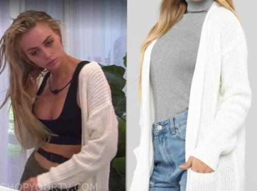 mackenzie, love island usa, ivory long cardigan sweater