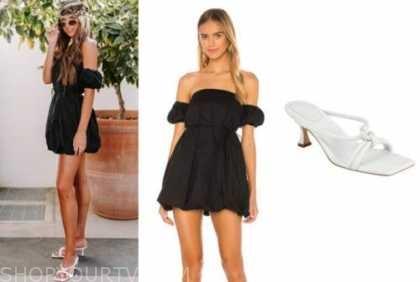 madison prewett, black dress, white sandals, the bachelor