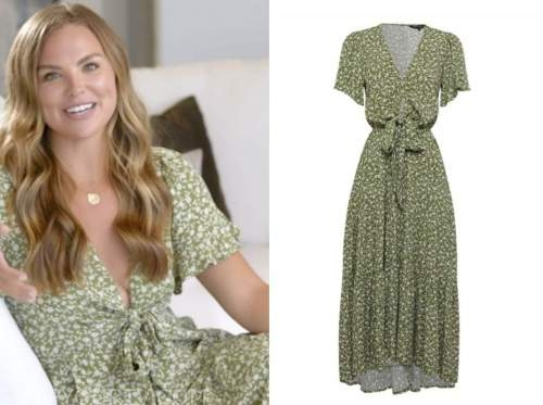 hannah brown, green printed tie front maxi dress, the bachelorette