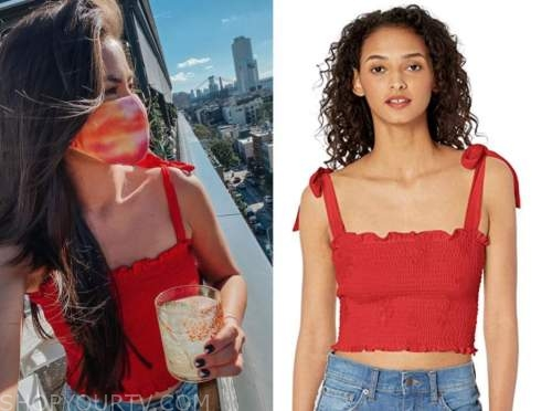 caila quinn, the bachelor, red smocked crop top