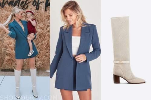 lauren burnham, blue blazer, beige knee high boots, the bachelor