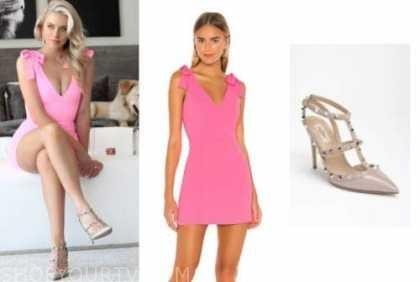 emily ferguson, the bachelor, hot pink bow dress, studded heels