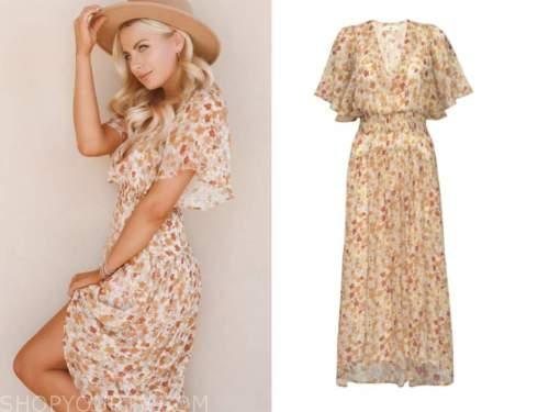 emily ferguson, the bachelor, orange floral maxi dress