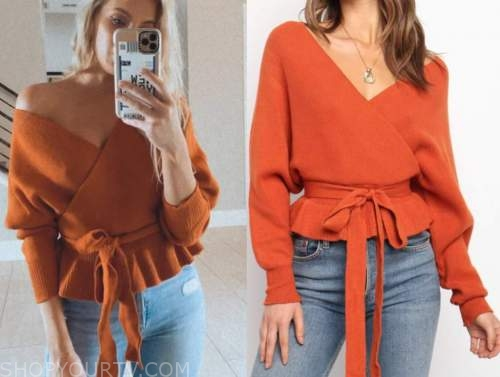 haley ferguson, the bachelor, orange wrap sweater