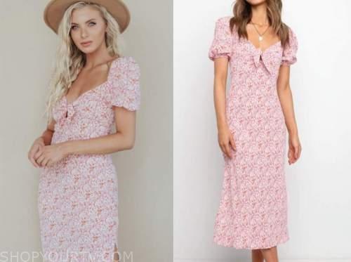 haley ferguson, pink floral midi dress, the bachelor