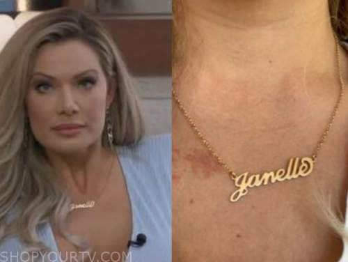 janelle pierzina, gold nameplate necklace, big brother all stars