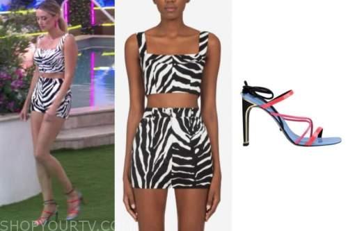 arielle vandenberg, love island usa, zebra crop top and shorts, multicolor sandals