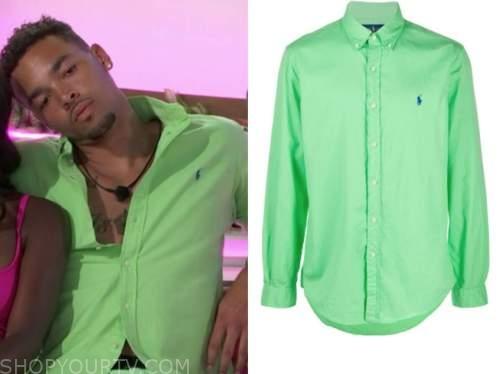 caleb, love island usa, green button down shirt