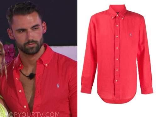connor, love island usa, red button down shirt