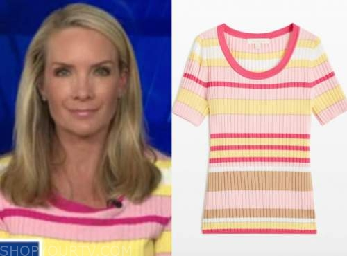 the five, dana perino, pink and yellow striped short sleeve sweater