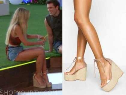 mackenzie, love island usa, clear espadrille wedge heels