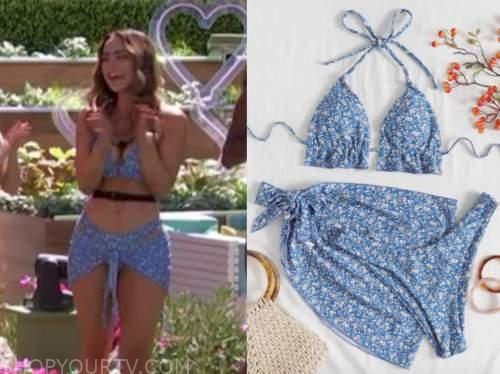 love island usa, lauren, blue floral bikini