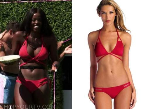 justine, love island usa, red cutout wrap bikini