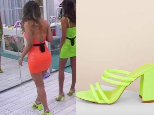 lauren, love island usa, lime green sandals