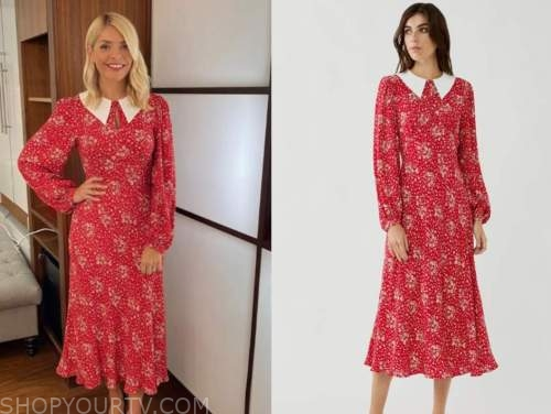 this morning, holly willoughby, red and white floral midi dress