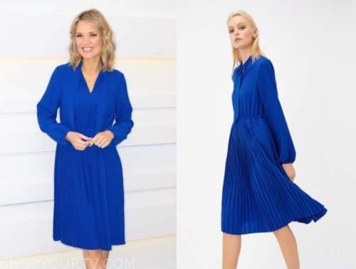 charlotte hawkins, good morning britain, blue pleated dress