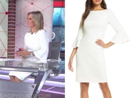 dr. jennifer ashton, white bell sleeve sheath dress, good morning america