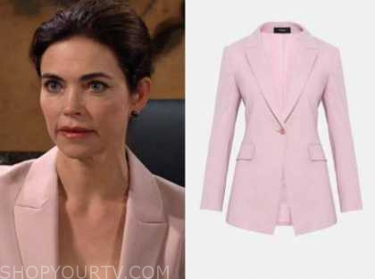 the young and the restless, victoria newman, amelia heinle, pink blazer
