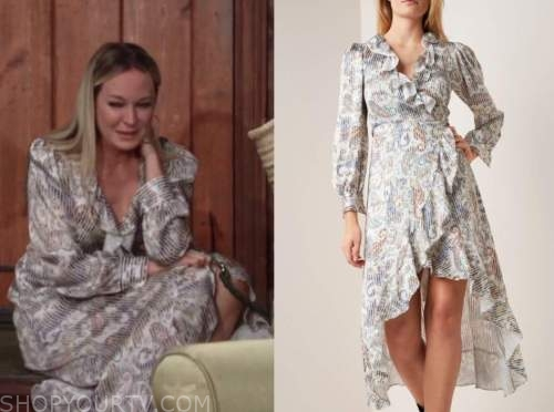 sharon case, sharon newman, the young and the restless, paisley ruffle wrap dress