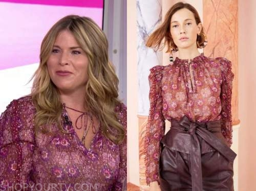 jenna bush hager, the today show, burgundy floral metallic blouse