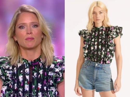 the view, sara haines, floral ruffle lace insert top