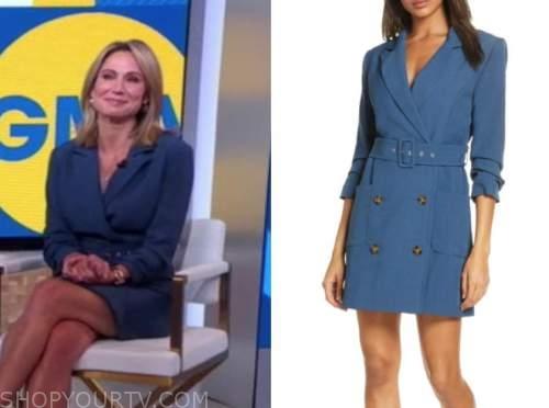 amy robach, good morning america, blue blazer dress