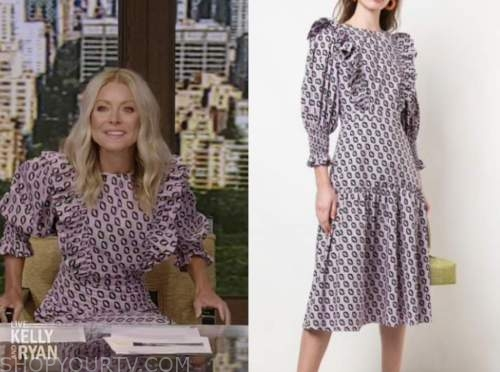 kelly ripa, purple printed ruffle midi dress, live with kelly and ryan