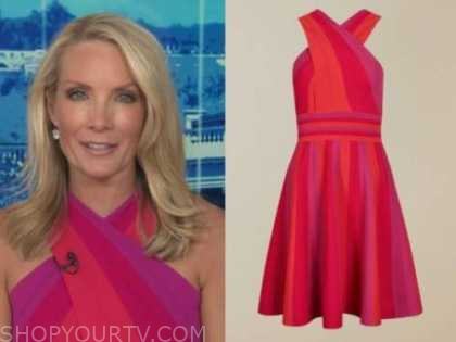 dana perino, the daily briefing, the five, red and purple stripe knit halter dress