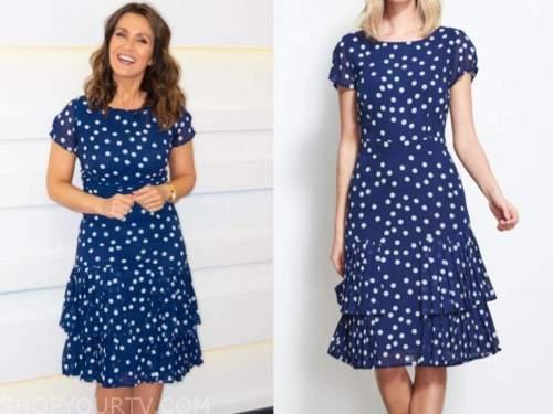 susanna reid, good morning britain, blue and white polka dot dress