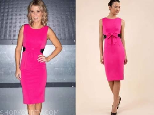 charlotte hawkins, good morning britain, hot pink bow sheath dress