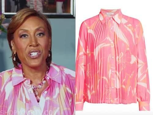 robin roberts, pink printed pleated shirt, good morning america