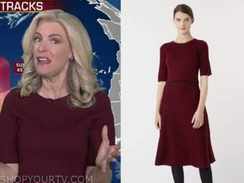 janice dean, fox and friends, burgundy knit dress