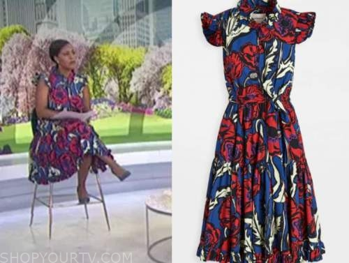 sheinelle jones, red and blue floral shirt dress, the today show