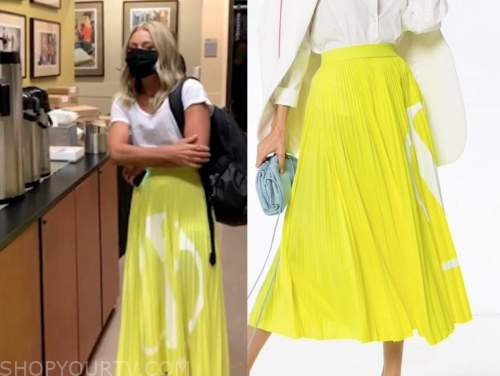 live with kelly and ryan, kelly ripa, yellow and white pleated skirt
