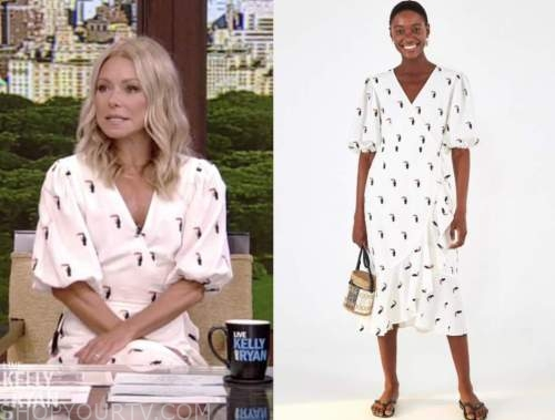 kelly ripa, live with kelly and ryan, white bird embroidered wrap dress
