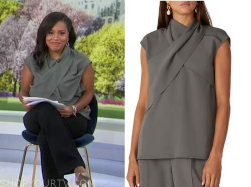 sheinelle jones, the today show, grey criss cross blouse