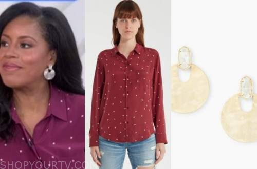 sheinelle jones, the today show, burgundy star shirt, disc earrings
