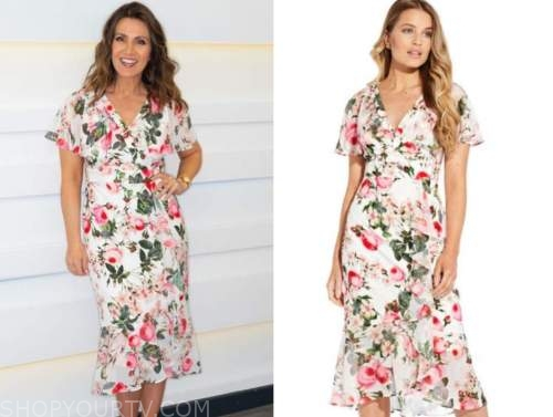 good morning britain, susanna reid, white and pink floral midi dress