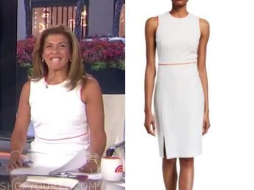 hoda kotb, the today show, white and red contrast trim sheath dress