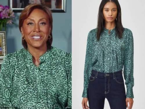 robin roberts, green leopard blouse, good morning america