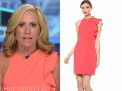 outnumbered, melissa francis, coral ruffle dress