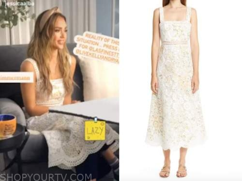 jessica alba, live with kelly and ryan, white lace midi dress