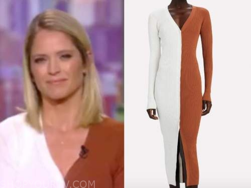sara haines, the view, white and tan colorblock cardigan sweater